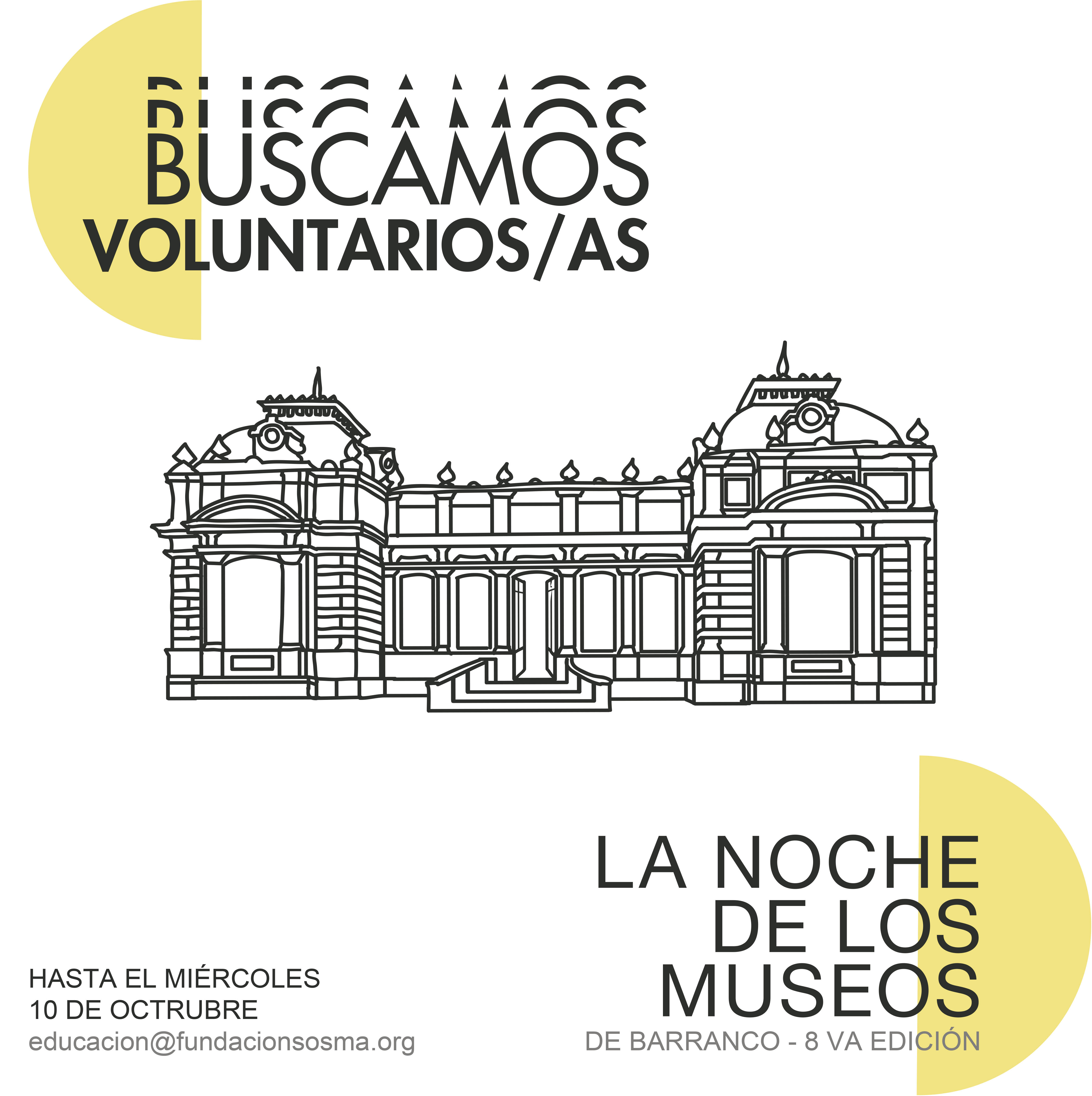 (Español) Buscamos voluntarios/as: La Noche de los Museos de Barranco – 8va. Edición